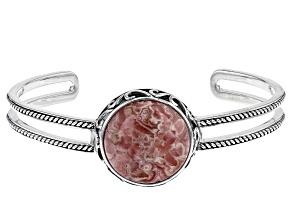 Rhodochrosite Rhodium Over Silver Bracelet