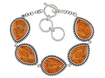 Picture of Orange Pear Shaped Coral Rhodium Over Sterling Silver Bracelet