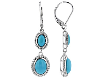 Picture of Blue Sleeping Beauty Turquoise Rhodium Over Silver Earrings