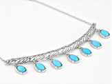 Blue Sleeping Beauty Turquoise Rhodium Over Sterling Silver Necklace