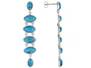 Blue Turquoise Rhodium Over Silver Dangle Earrings