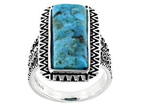Blue Turquoise Rhodium Over Silver Statement Ring