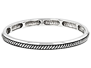 Oxidized Rhodium Over Silver Bangle Bracelet