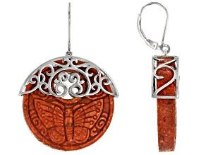 Red Coral Rhodium Over Silver Earrings 30mm