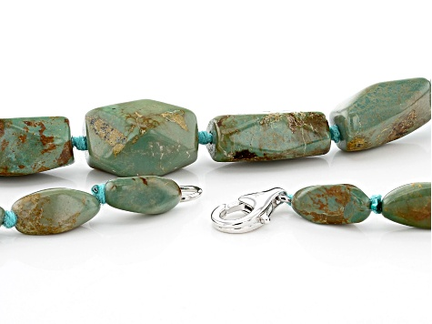 Turquoise In Matrix Rhodium Over Silver Graduated Necklace