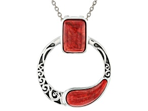 Red Coral Rhodium Over Silver Enhancer With 18
