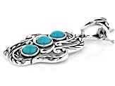 Sleeping Beauty Turquoise Rhodium Over Silver Enhancer With Chain