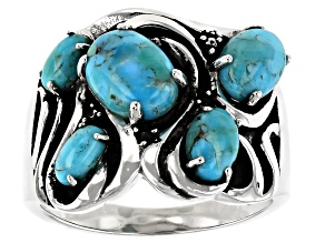 Blue Turquoise Rhodium Over Silver 5- Stone Ring