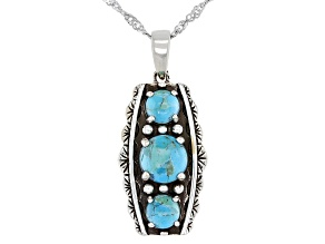 Round Blue Turquoise Rhodium Over Silver 3-Stone Pendant With 18