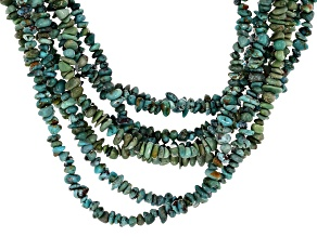 Blue Turquoise Chips Rhodium Over Sterling Silver 8 Strand Necklace