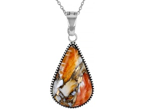 Spiny Oyster Shell Rhodium Over Sterling Silver Enhancer with Chain