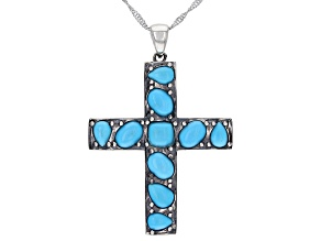 "Blue Sleeping Beauty Turquoise Silver Cross Pendant with 18"" Chain"