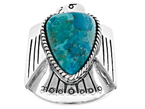 Blue Turquoise Rhodium Over Silver Eagle Ring