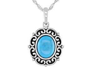 "Sleeping Beauty Turquoise Rhodium Silver Pendant With 18"" Chain"