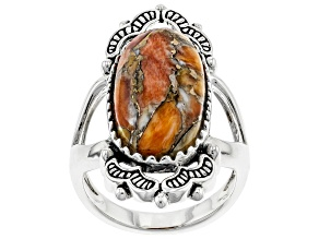 Spiny Oyster Shell Rhodium Over Silver Ring 21x10mm