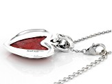"Red Coral Rhodium Over Silver Enhancer With 18"" Chain"