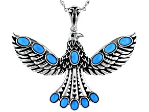 Sleeping Beauty Turquoise Rhodium Over Silver Eagle Enhancer with Chain