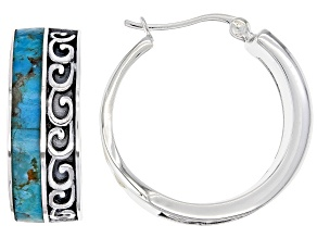 Blue Turquoise Rhodium Over Silver Inlay Hoop Earrings