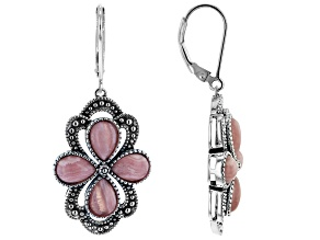Pink Rhodochrosite Rhodium Over Silver Earrings