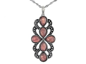 Pink Rhodochrosite Rhodium Over Silver Pendant with Chain