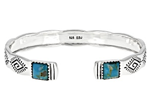 Blue Turquoise Rhodium Over Silver Cuff Bracelet