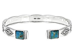 Blue Turquoise Rhodium Over Silver Cuff Bracelet