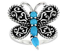 Sleeping Beauty Turquoise Rhodium Over Silver Dragonfly Ring
