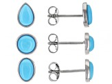 Sleeping Beauty Turquoise Rhodium Over Silver Set of 3 Earrings