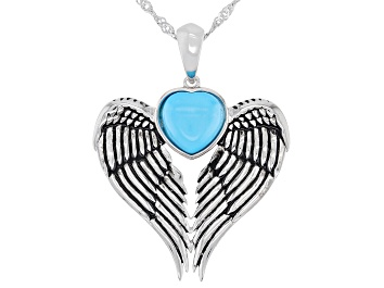 Picture of Sleeping Beauty Turquoise Rhodium Over Silver Pendant w/ Chain