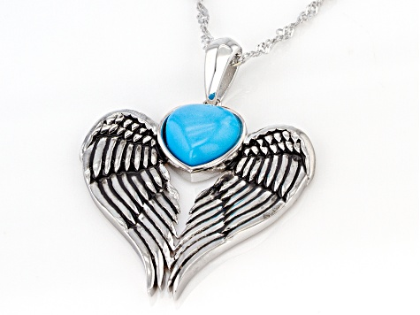 Sleeping Beauty Turquoise Rhodium Over Silver Pendant w/ Chain