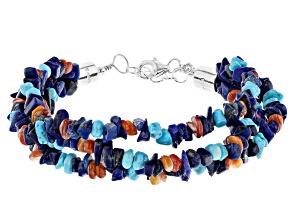Sleeping Beauty Turquoise, Lapis, Oyster Shell Rhodium Over Silver Multi Strand Bracelet