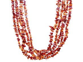Orange Spiny Oyster Shell Rhodium Over Silver Multi Strand Necklace