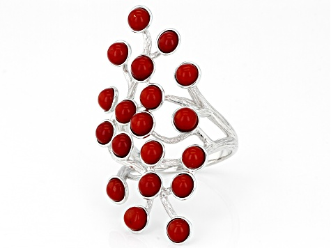 Red Bamboo Coral Rhodium Over Silver Ring 4mm