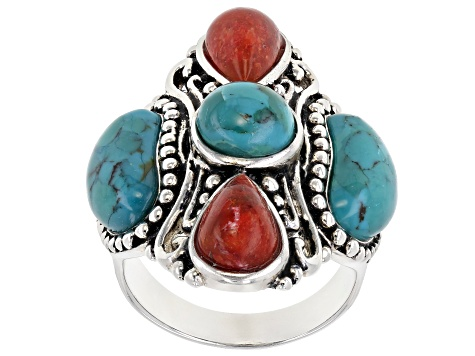 Turquoise and Coral Rhodium Over Sterling Silver 5-Stone Ring