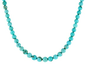 Blue Turquoise Rhodium Over Silver Beaded Necklace