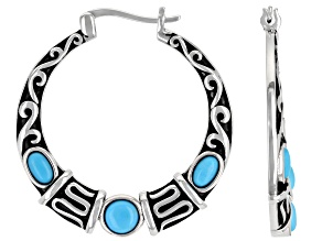 Sleeping Beauty Turquoise Rhodium Over Silver Hoop Earrings