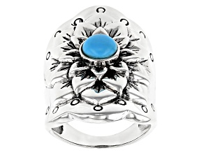 Blue Sleeping Beauty Rhodium Over Silver Floral Ring
