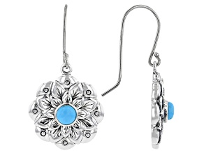 Blue Sleeping Beauty Turquoise Rhodium Over Silver Floral Earrings
