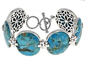 Blue Turquoise Rhodium Over Silver 6-Stone Bracelet