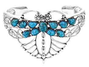 Blue Turquoise Rhodium Over Silver Dragonfly Cuff Bracelet
