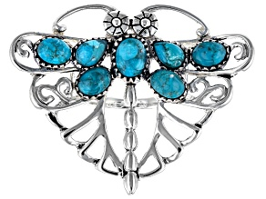Blue Turquoise Rhodium Over Silver Dragonfly Ring