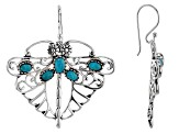 Blue Turquoise Rhodium Over Silver Dragonfly Earrings