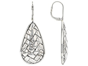 Rhodium Over Sterling Silver Basket Weave Dangle Earrings