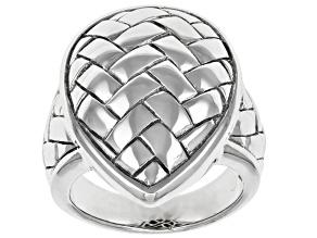 Rhodium Over Sterling Silver Basket Weave Ring