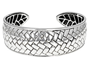 Rhodium Over Sterling Silver Basket Weave Cuff Bracelet