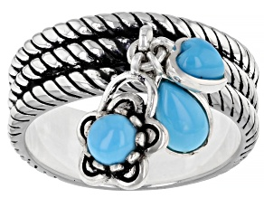 Sleeping Beauty Turquoise Rhodium Over Silver 3- Stone Ring