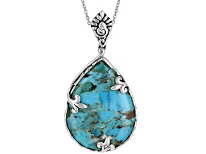 "Blue Turquoise Rhodium Over Silver Pendant with 18"" Chain"