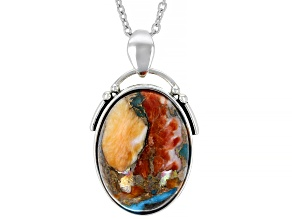 Blended Turquoise with Spiny Oyster Shell Pendant with Chain