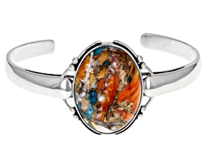 Blended Turquoise and Spiny Oyster Shell Rhodium Over Silver Bangle