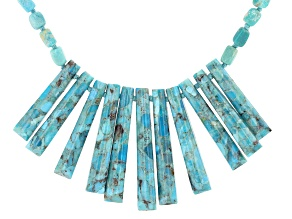 Blue Turquoise Rhodium Over Sterling Silver Necklace